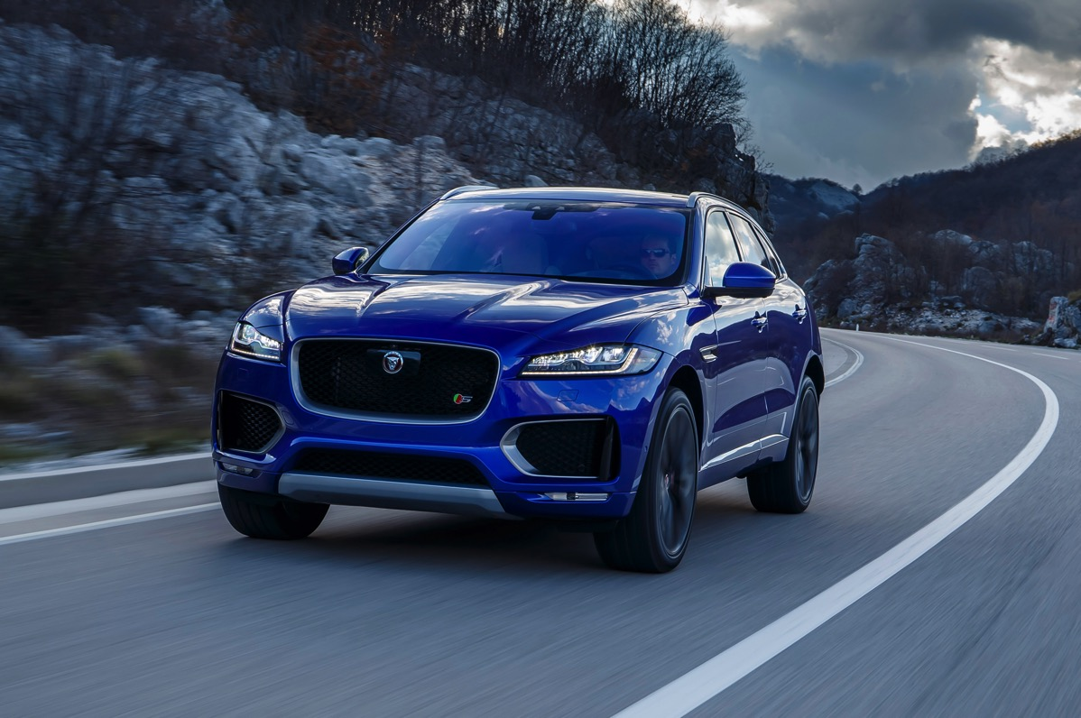 2017 Jaguar F Pace First Edition in motion front view