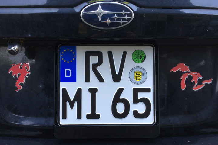Rear license plate